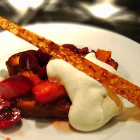 Poached berries on French toast