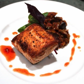 Salmon and caponata