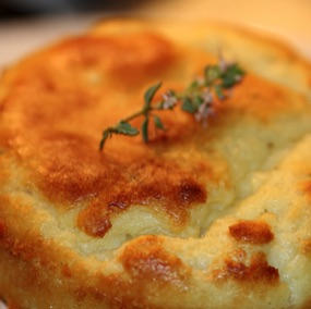 Goats cheese and thyme soufflé