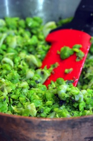 Crushed peas and broad beans