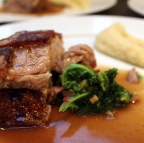 Pork belly with kale and apple gravy